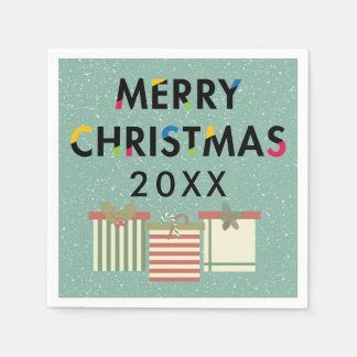 Merry Christmas 20XX Template Gift Boxes Paper Napkins