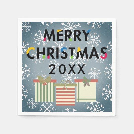 Merry Christmas Paper Napkins 20XX Template Snowflakes Gift Boxes