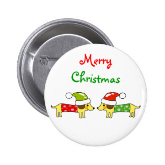 Merry Christmas 2 sausage dogs Pinback Button
