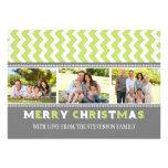 Merry Christmas 3 Photo Card Grey Green Chevron