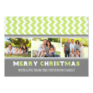 Merry Christmas 3 Photo Card Grey Green Chevron