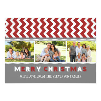 Merry Christmas 3 Photo Card Grey Red Chevron