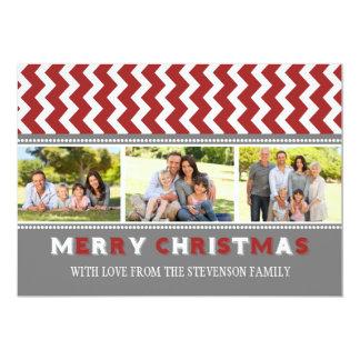 Merry Christmas 3 Photo Card Grey Red Chevron