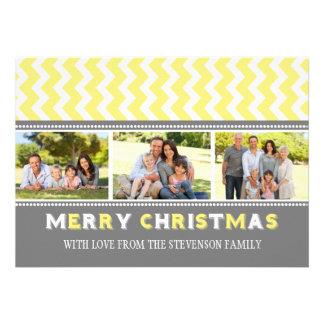 Merry Christmas 3 Photo Card Grey Yellow Chevron
