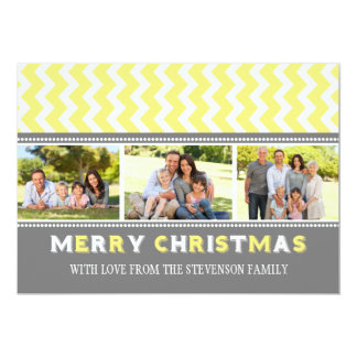Merry Christmas 3 Photo Card Grey Yellow Chevron Personalized Invite