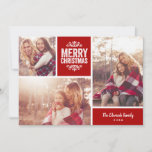 """Merry Christmas 3 Photo Collage Holiday Card<br><div class=""""desc"""">Affordable custom printed holiday photo cards with simple templates for customization. This modern rustic design has a photo collage layout with space for 3 family photos and text in coordinating color blocks - edit the colors to match any photos. Personalize it with your photos and add your family name and...</div>"""