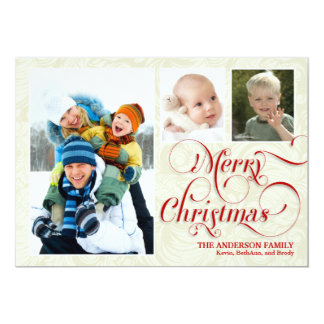 "Merry Christmas 3-Photo Flat Card - Red & White 5"" X 7"" Invitation Card"