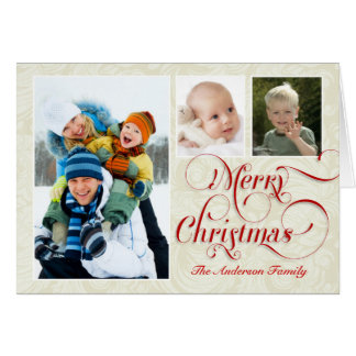 Merry Christmas 3-Photo Greeting Card Red & White