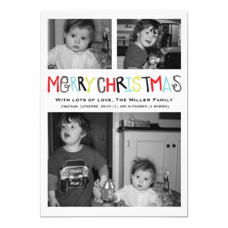 Merry Christmas 3 photo Holiday Card Personalized Invite