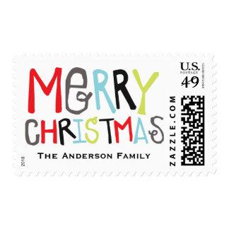 Merry Christmas 3 photo Holiday Stamp