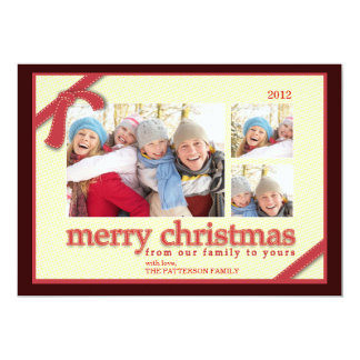 Merry Christmas 3 Photo Red Ribbon Holiday Card