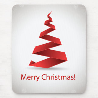 Merry Christmas 3D red christmas tree Mouse Pad