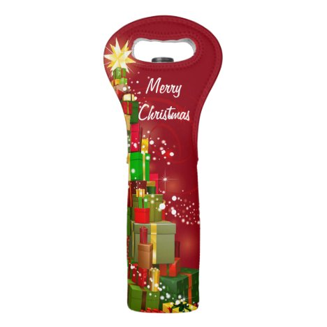 Merry Christmas Add YOUR TEXT Gift Wine Tote