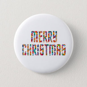 Merry Christmas Happy New Year Buttons & Pins - Custom Button Pins ...