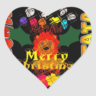 Merry Christmas and a Happy New Year Heart Sticker
