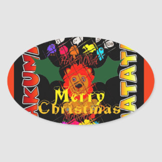 Merry Christmas and a Happy New Year Oval Sticker