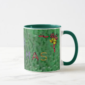 Merry Christmas and Bells in Stained Glass Mug