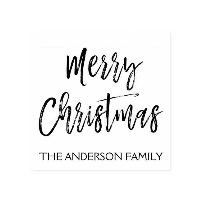 Merry Christmas and Family Name Rubber Stamp