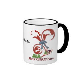 Merry CHRISTmas and God Bless You, Merry CHRIST... Ringer Mug