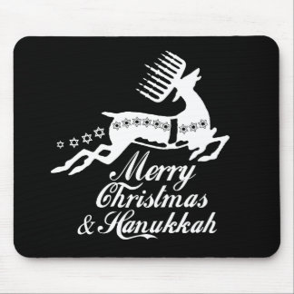 Merry Christmas and Hanukkah white Mouse Pad
