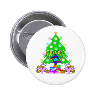 Merry Christmas and Happy Hanukkah Button