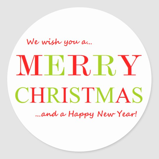 Merry Christmas and Happy New Year Classic Round Sticker