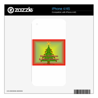 Merry Christmas and happy new year Decals For iPhone 4S