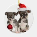 Merry Christmas And Happy New Year Double-Sided Ceramic Round Christmas Ornament