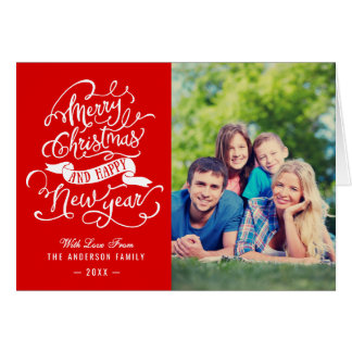 Merry Christmas and Happy New Year Family Photo Card