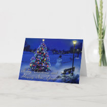 merry christmas and happy new year holiday card