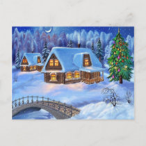 merry christmas and happy new year holiday postcard