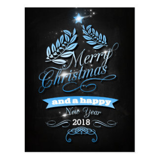 Merry Christmas and Happy New Year in Blue Tarjetas Postales