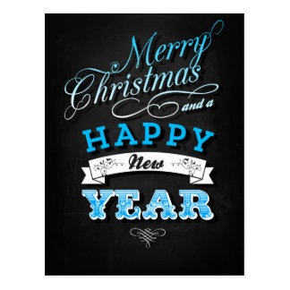 Merry Christmas and Happy New Year in Blue Tarjeta Postal