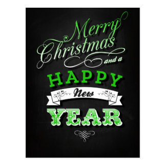 Merry Christmas and Happy New Year in Green Tarjeta Postal