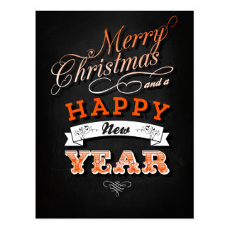 Merry Christmas and Happy New Year in Orange Postal