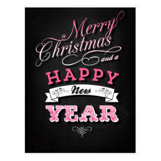 Merry Christmas and Happy New Year in Pink Postal