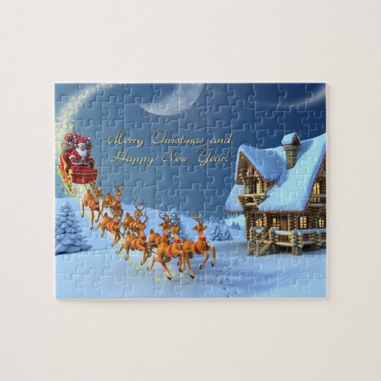 Merry Christmas And Happy New Year Jigsaw Puzzle Zazzle Com