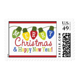 Merry Christmas and Happy New Year Lights Stamp