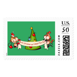 Merry Christmas And Happy New Year Monkeys Postage