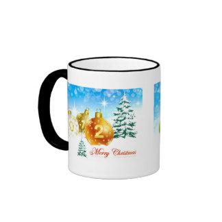Merry Christmas and Happy New Year Ringer Coffee Mug