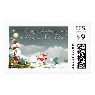merry christmas and happy new year stamp