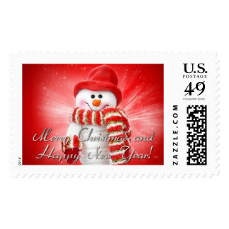 merry christmas and happy new year postage stamp
