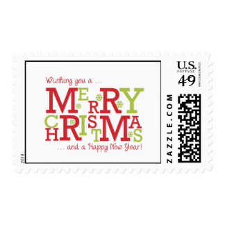 Merry Christmas and Happy New Year Postage Stamps