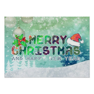 Merry Christmas and Happy New Year Poster Paper