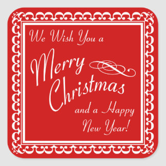 Merry Christmas and Happy New Year Red Stickers