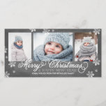 "Merry Christmas and Happy New Year Snowflakes Holiday Card<br><div class=""desc"">3-Photo Holiday Card with chalkboard background. 