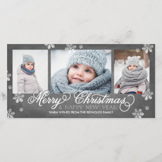Merry Christmas and Happy New Year Snowflakes Holiday Card
