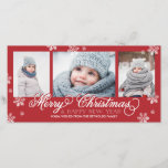 """Merry Christmas and Happy New Year Snowflakes Holiday Card<br><div class=""""desc"""">3-Photo Holiday Card.                       com</div>"""