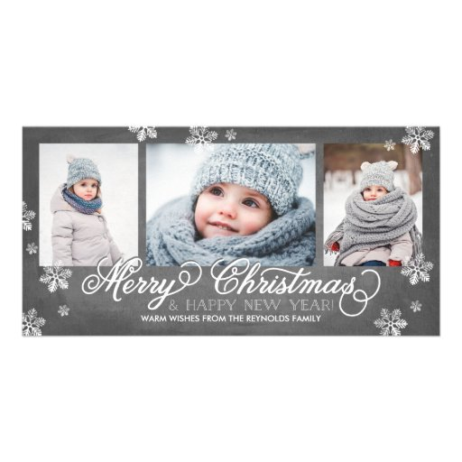 Merry Christmas and Happy New Year Snowflakes Photo Card
