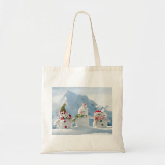 Merry Christmas and Happy New Year Snowmen Canvas Bag